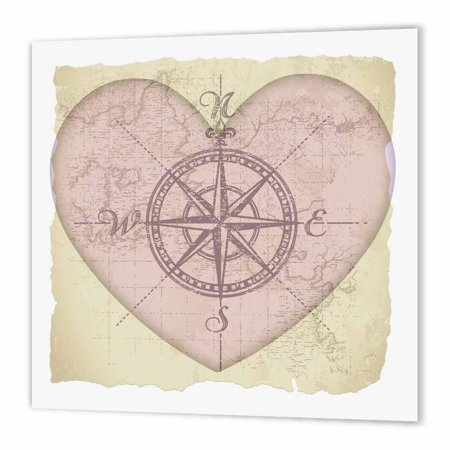 3dRose Map of the Heart- Love Art- Romantic- Valentines Day, Iron On Heat Transfer, 10 by 10-inch, For White Material