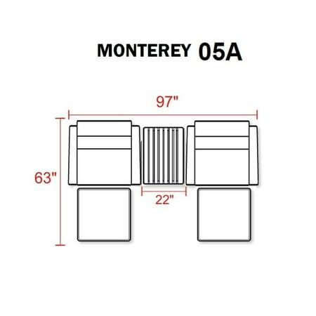 TKC Monterey 5 Piece Outdoor Wicker Sofa Set in Wheat - image 2 of 3