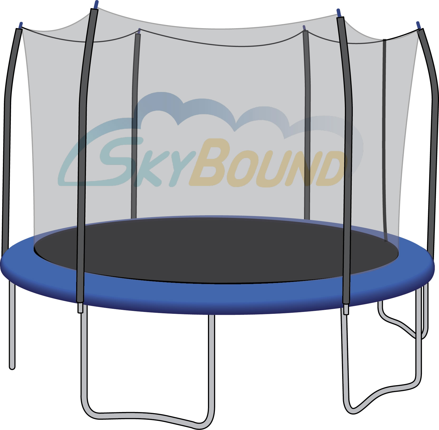 SkyBound 15-Foot Trampoline Net - Fits 6 Straight-Curved Poles