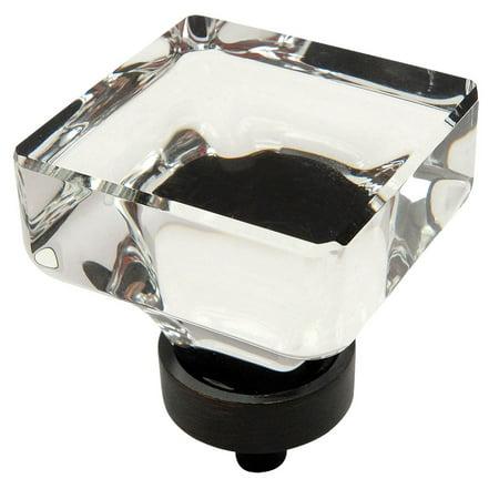 Cosmas 6377ORB-C Oil Rubbed Bronze & Clear Glass Square Cabinet Knob