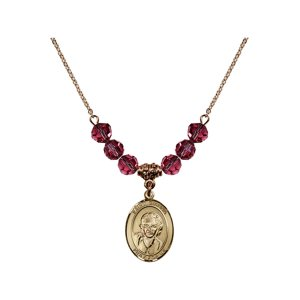 18-Inch Hamilton Gold Plated Necklace with 6mm Rose Pink October Birth Month Stone Beads and Saint Gianna Beretta Molla Charm