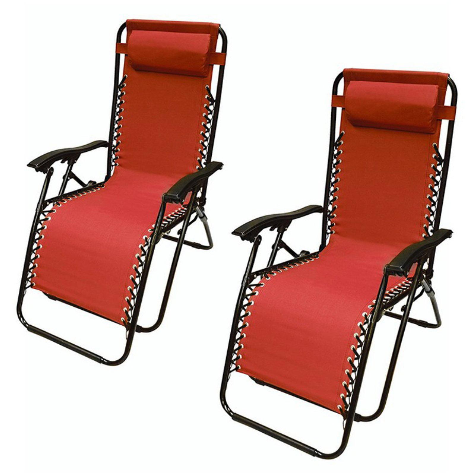 ALEKO Outdoor Patio Foldable Chaise-Longue Leisure Pool Beach Chair, Set of 2