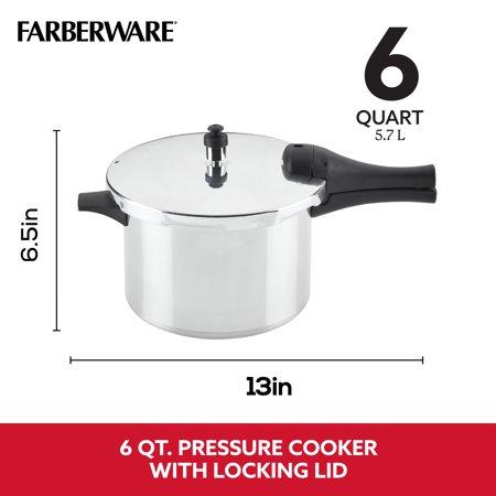 Farberware 6-Quart Aluminum Stovetop Pressure Cooker, 15 PSI