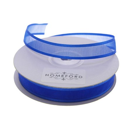 Satin-Edge Sheer Organza Ribbon, 5/8-Inch, 25 Yards, Royal Blue