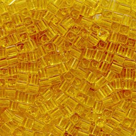 - 20 Grams Amber Tr Miyuki 4mm Square Cube Glass Seed, Loose Beads,