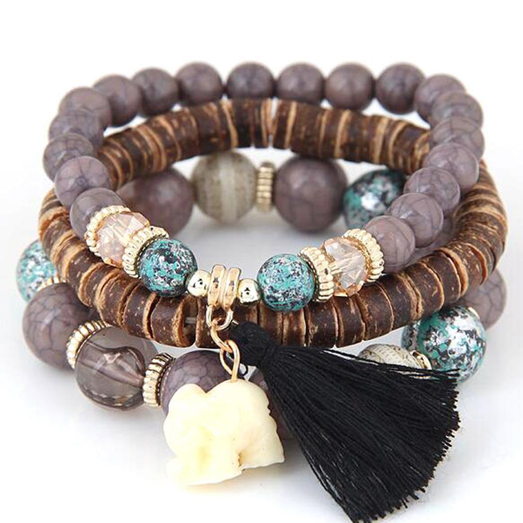 Generic Boho Elephant Charm Wooden Beads Bracelet Set