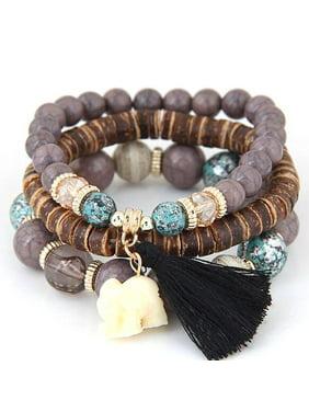 Boho Elephant Charm Wooden Beads Bracelet Set