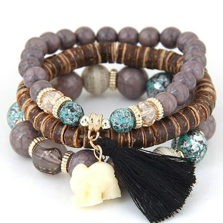 Boho Elephant Charm Wooden Beads Bracelet Set