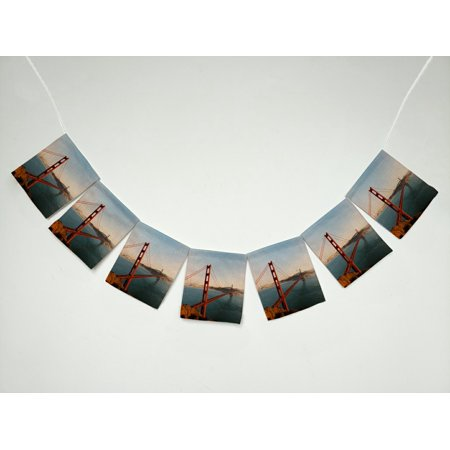 The Closest Party City (GCKG City The Golden Gate Bridge and San Francisco at Sunset Banner Bunting Garland Flag Sign for Home Family Party)