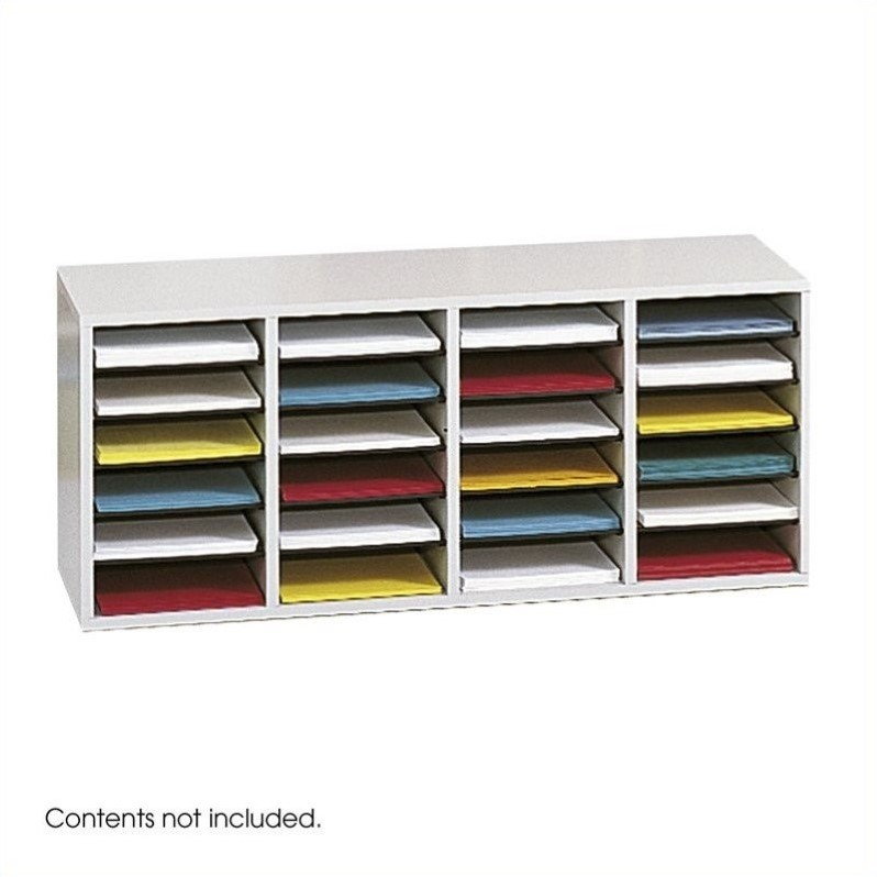 Scranton & Co Grey 24 Compartment Wood Adjustable File Organizer