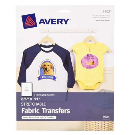 - Avery Stretchable Fabric Transfers for Inkjet Printers, 5-Pack