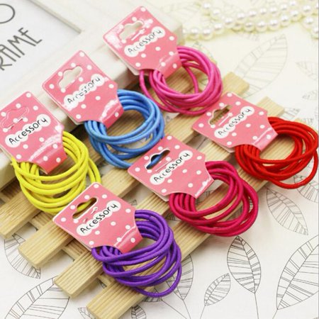 Outtop Candy Color Kids Elastic Hair Rope Ponytail band ties girls hair - Ponytail Accessories