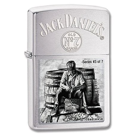 Zippo 28755 Jack Daniels Scenes Lynchburg 3 Brushed Chrome Windproof Lighter NEW