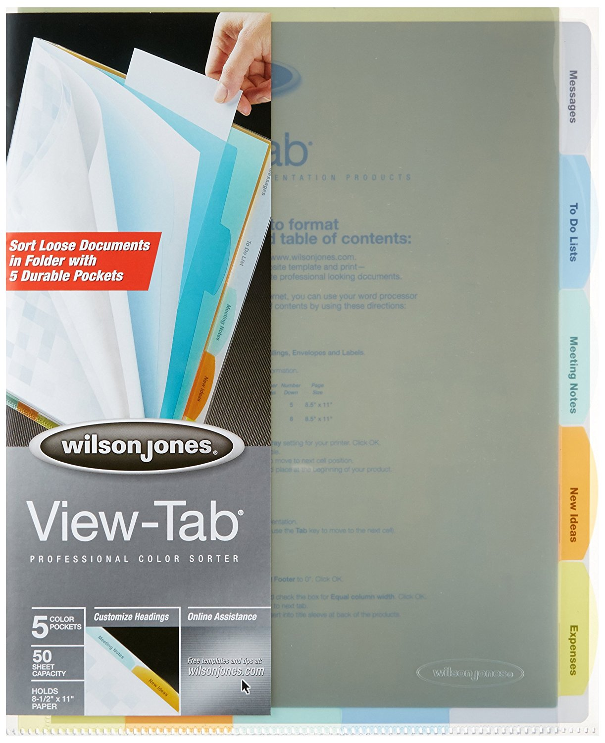 View-Tab Professional Sorter, 5 Tabs, Letter Size, Multi-Color (W55120), Organize your loose documents with... by