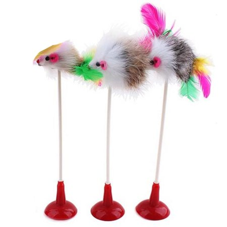 JOYFEEL Clearance 2019 20CM Mouse Shaped Sucker Toys with Feather Tails Toys for Cats Color Random Best Toy Gifts for Children