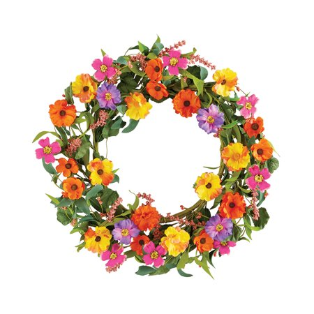 Colorful Wildflower Summer and Spring Floral Wreath for Front Door, Artificial Flowers, Yellow, Purple, Pink and Orange - Spring Door Decorations