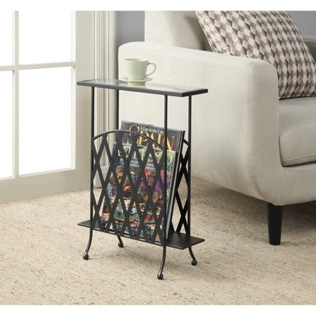 Convenience concepts wyoming wrought iron glass top side for Wrought iron and glass side tables