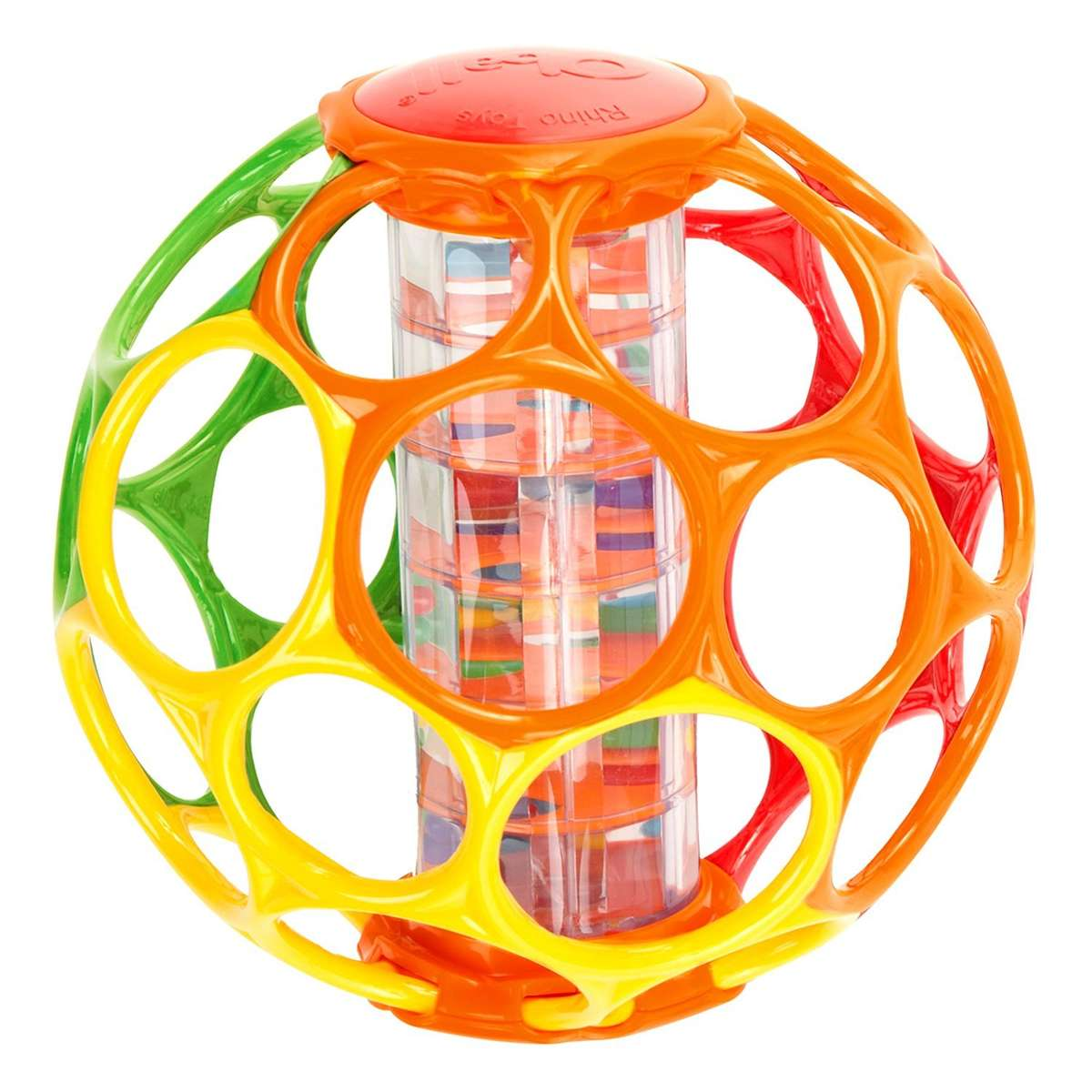 Rhino Toys 6-Inch Oball With Rainstick Rattle - Orange/Red/Green