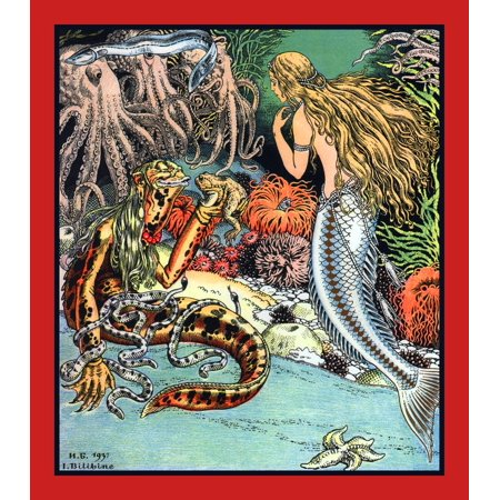 The Little Mermaid is meeting a monster-like eel man in a garden of sea creatures  This is the scene where the little mermaid trades her voice for legs from the evil sea witch  An illustration for a f - Mermaid Evil