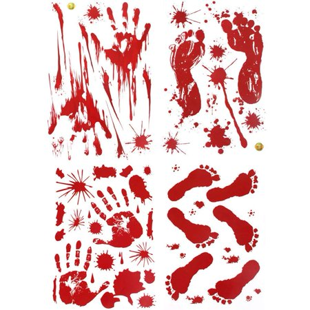 Halloween Handprint Ideas (YuBoBo 60 PCS Halloween Decoration Removable Horror Bloody Handprints Footprints Decals Stickers, Halloween Vampire Zombie Party Décor)