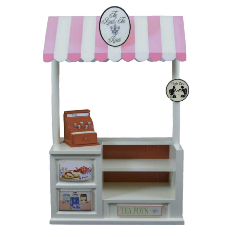 Interchangeable Royal-Tea Room with Counter, Register & Shoe Shoppe Sign, Fits 18 Inch Girl Doll Furniture &... by The Queen's Treasures