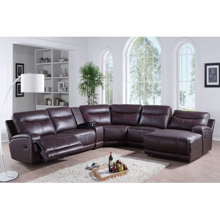 Simple Relax 1perfectchoice Oleta 6pcs Dark Brown Home Theater Reclining Sofa Set