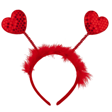 Lux Accessories Red Fabric Furry Heart Antenna Valentine's Day Festive Headband - Alien Antenna Headband
