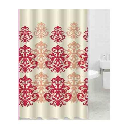 Red / Rust Bronze Geometric Damask Printed Cream Fabric Shower ...