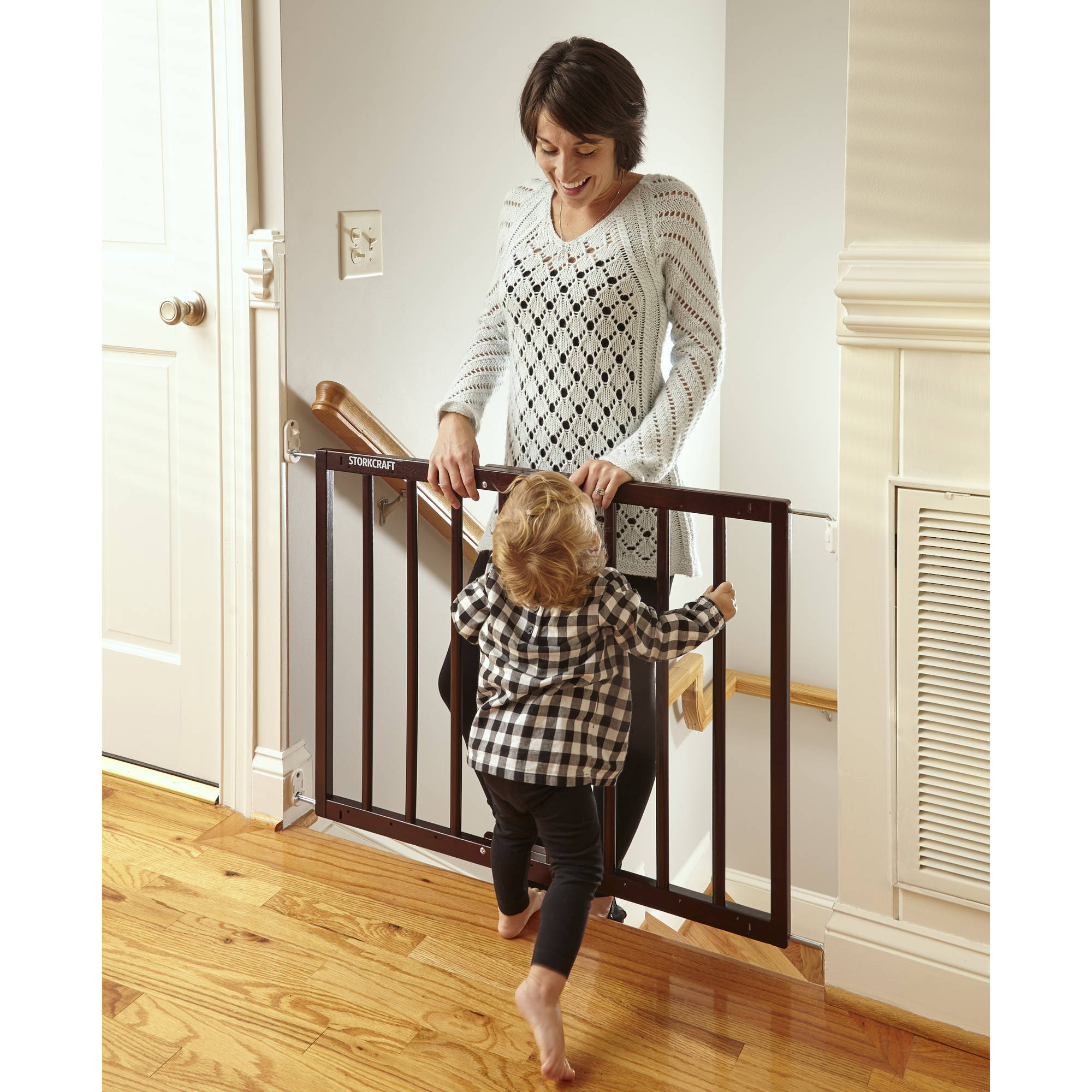 Storkcraft Easy Walk-Thru Wooden Safety Gate, Espresso