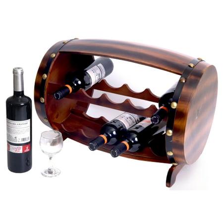 Wooden Barrel Shaped Wine Rack, 10 Bottle Decorative Wine Holder