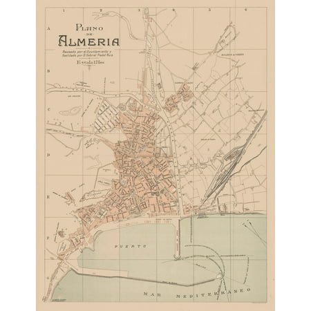 Map Of Spain Almeria.Old Spain Map Plano De Almeria Martin 1897 23 X 29 90