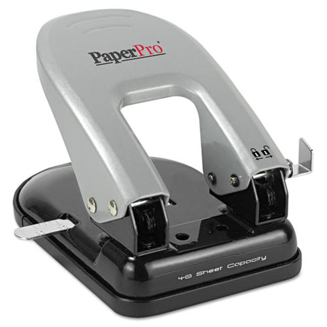 Accentra 2340 inDulge Two-Hole Punch, 40-Sheet Capacity - Black & Silver