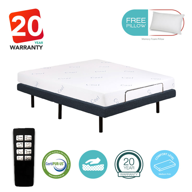 "Icon Sleep 10"" inch Twin XL Size Electric Bed Frame Adjustable Base w/ 8"" Gel Foam Mattress"