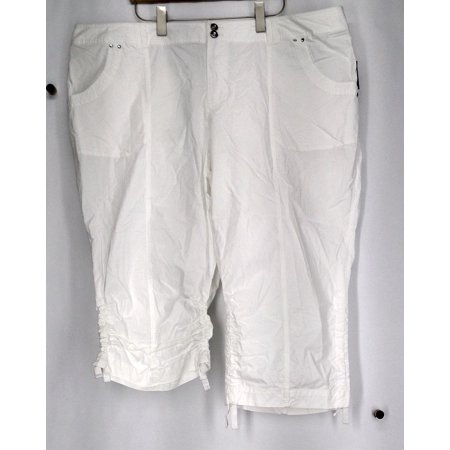 8d288db7c02 INC - INC Plus Size Pants 24W Straight Leg Ruched Cargo Pants White Womens  - Walmart.com