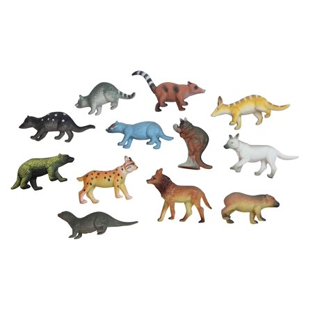 Miniature Figure Playset (Miniature Animal Assortment with White Wolf Figurines Replicas - Mini Action Figures Replicas - Miniature Animal Playset)