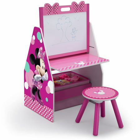Disney Minnie Mouse Deluxe Kids Art Table, Easel, Desk, Stool & Toy Organizer by Delta Children ()