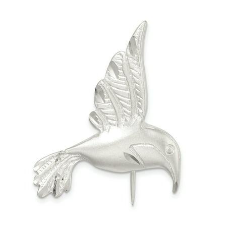 Sterling Silver Satin Finish Diamond Cut Hummingbird Pin QP462 Sterling Silver Filigree Brooch