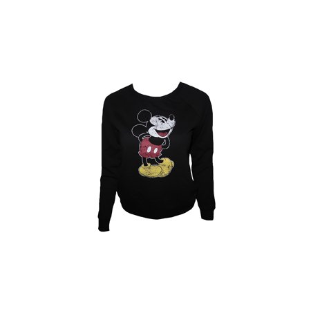 Juniors Mickey Mouse Distressed Print Black Sweater (L) W48 - Mickey Mouse Sweater