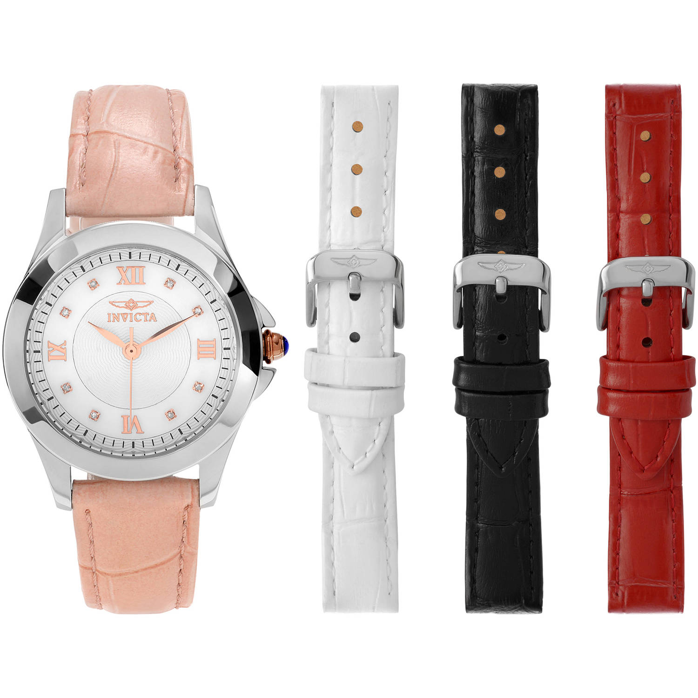 Invicta Women's Diamond 12544 Angel Leather Strap Dress Fashion Watch Set, 4 Straps, Multicolor