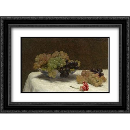 Still Life with Grapes and a Carnation, c. 1880 2x Matted 24x18 Black Ornate Framed Art Print by Latour, Henri Fantin