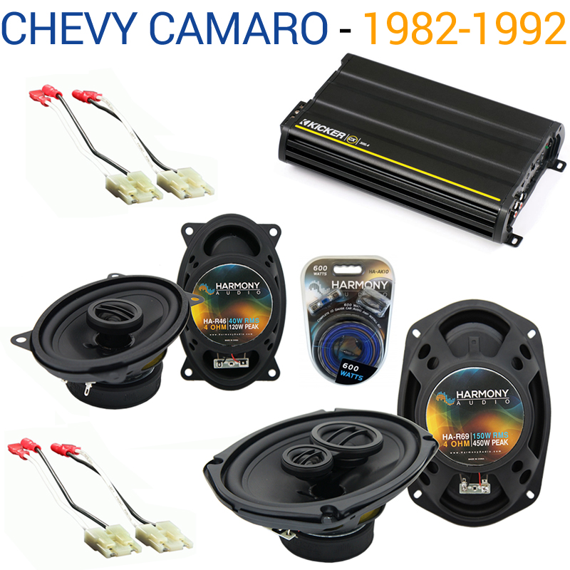 Chevy Camaro 1982-1992 Factory Speaker Upgrade Harmony R46 R69 & CX300.4 Amp - Factory Certified Refurbished