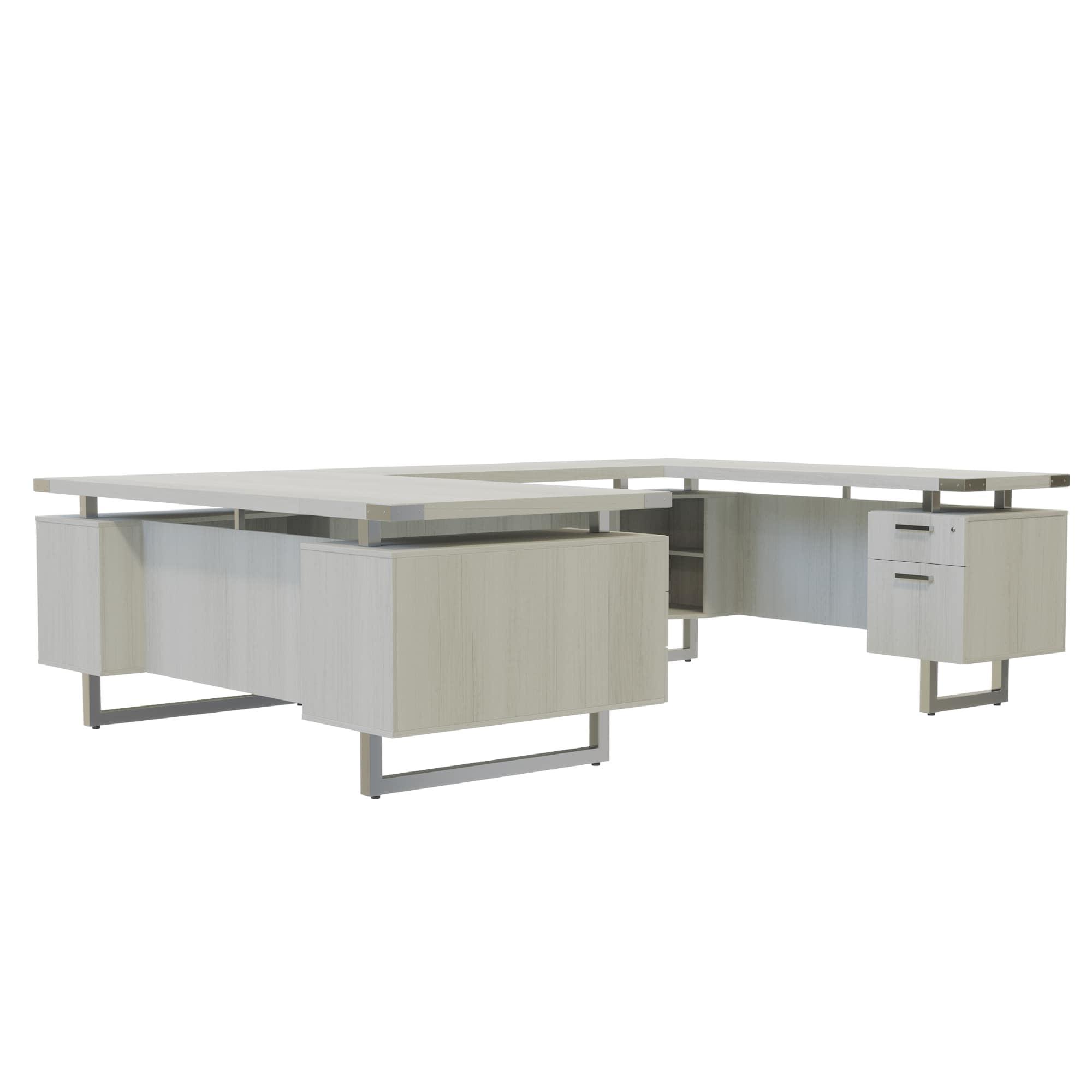 Safco Mirella U-Shaped Configuration Desk In White Ash Finish MRUSFF50WAH  - Walmart.com