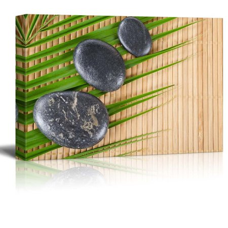 wall26 - Rocks on a Palm Leaf Over a Bamboo Mat - Canvas Art Home Decor - 24x36 (Palm Leaf Import)