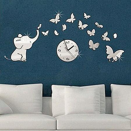 Elephants play Butterfly Sticker DIY Mirror Wall Clock Wall Sticker Home