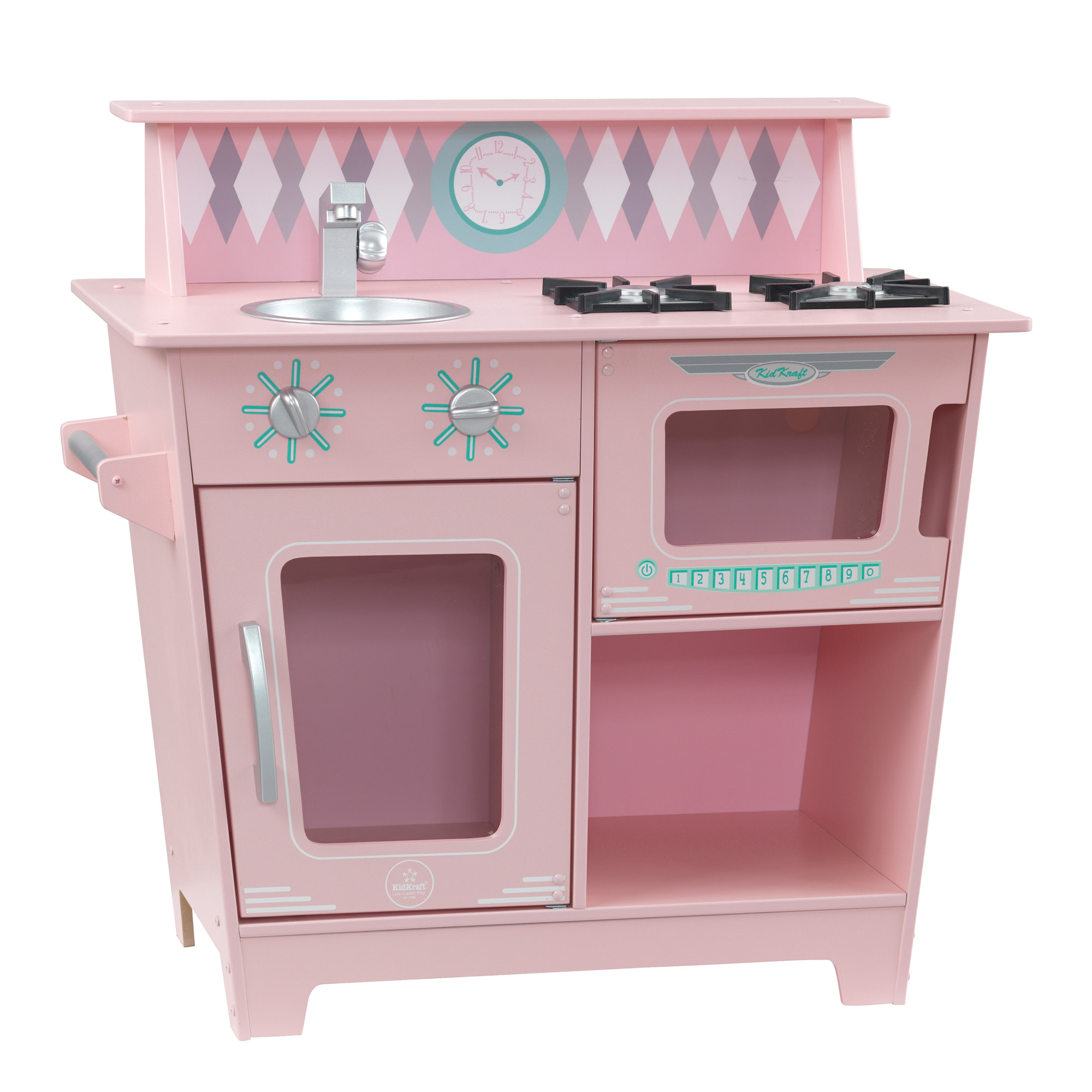 KidKraft Classic Wooden Pretend Play Cooking Kitchenette Toy Set for Kids, Pink by KidKraft