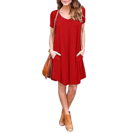 Women's Pockets Casual Plain Flowy Simple Swing T-Shirt Loose Dress](Casual Flowy Dresses)