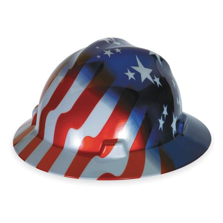 Msa  Mine Safety Appliances  10071157 V Gard Freedom Series Class E Type I Hard Hat With Fast Track Suspension And American Stars And Stripes  Ship From America