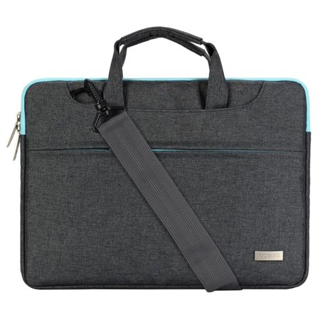 Mosiso Polyester Laptop Shoulder Bag Briefcase Sleeve Case Cover Handbag for 13-13.3 Inch MacBook Notebook with Back Belt for Trolly