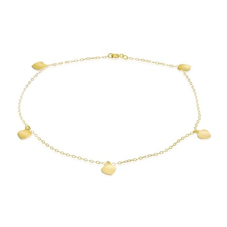Pori Jewelers 14K Solid Gold Cable Chain Heart Charm Anklet BOXED