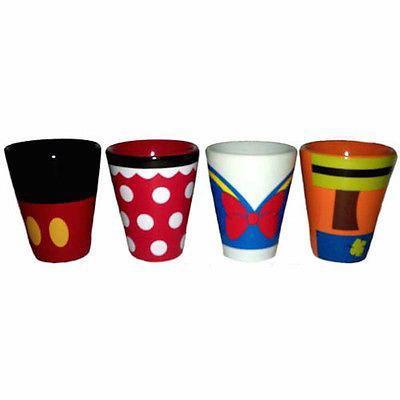 disney parks wdw donald mickey minnie goofy 2 oz shot glass set new with box